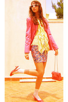 salmon shoes - hot pink blazer - salmon bag - lime green blouse - blue pull&bear