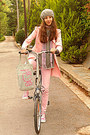 Light-pink-trench-skirt-romwe-coat-heather-gray-beret-tommy-hilfiger-hat