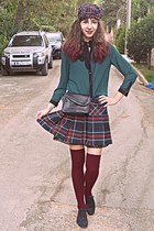 navy tartan OASAP skirt - black oxford shoes - navy tartan beret DIY hat