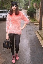 light pink fluffy romwe sweater - light pink army OASAP boots