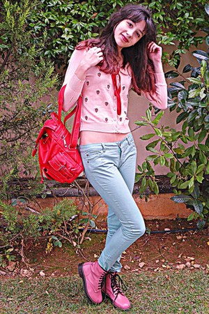 pink army OASAP boots - red VJ Style bag - aquamarine pants