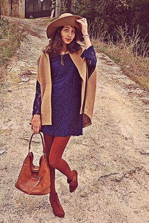 navy lace Zara dress - burnt orange H&amp;M boots - burnt orange tights