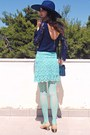 Navy-lace-zara-dress-navy-zara-hat-aquamarine-tights-navy-vintage-bag