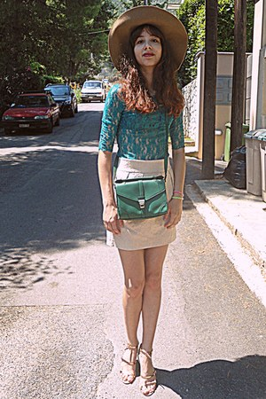 turquoise blue lace romwe top - camel H&M hat - green Accessorize bag