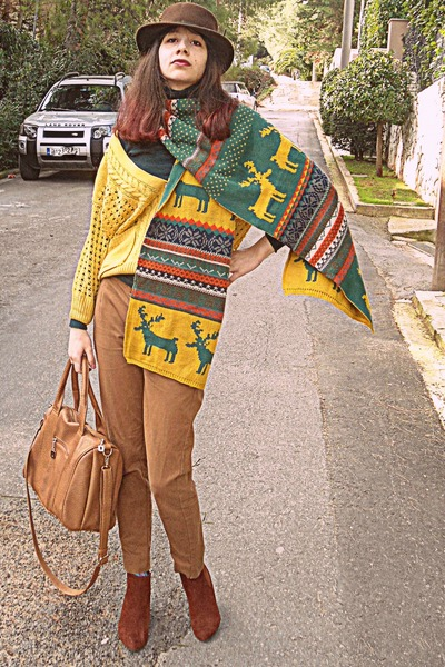 mustard fair isle Persun Mall scarf - burnt orange H&M boots - brown romwe hat