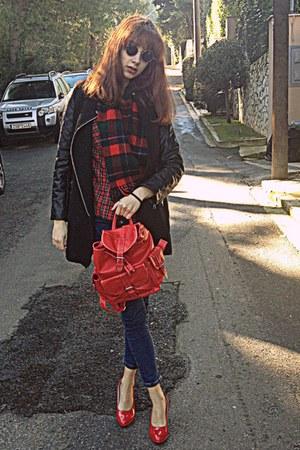 black romwe coat - navy romwe jeans - red plaid shirt - dark green plaid scarf