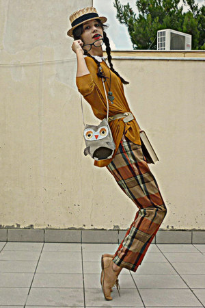 silver owl DIY bag - tawny vintage pants - tan oxford Topshop flats