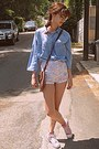 Sky-blue-denim-shirt-brown-bag-white-floral-romwe-shorts