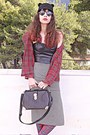 Black-ears-romwe-hat-ruby-red-tartan-choies-shirt-black-chicwish-bag