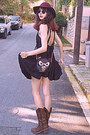 Brown-cowboy-boots-black-romwe-dress-maroon-h-m-hat-black-owl-bag