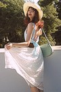 Light-blue-open-back-romwe-dress-ivory-hat-aquamarine-bag