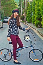 black polka dot romwe shirt - black beret DIY hat - maroon Zara leggings