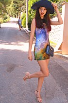 lime green galaxy Chicwish dress - navy Zara hat - navy vintage bag