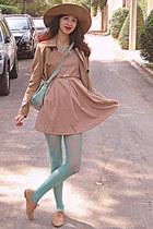 aquamarine bag - tan oxford shoes - tan sequined collar Koogul dress