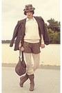 Brown-faux-fur-boots-light-brown-plaid-hat-cream-ralph-lauren-sweater