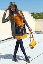 mustard lulus bag - mustard Zara top - navy pull&bear skirt
