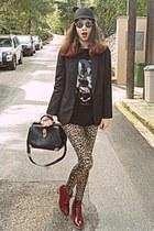 black ear romwe hat - brick red boots - beige leopard romwe leggings