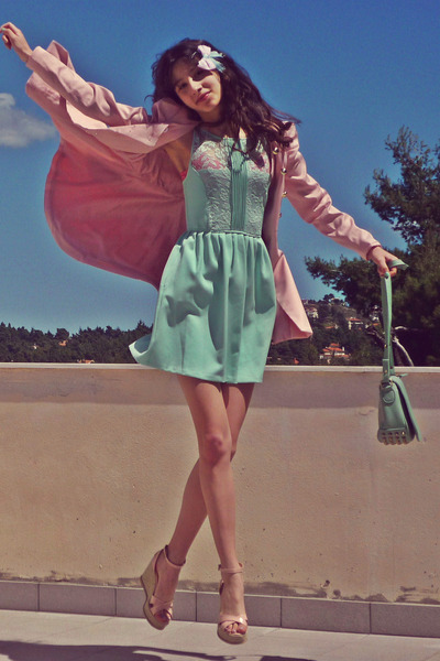 aquamarine Zara dress - light pink romwe coat - aquamarine lulus bag