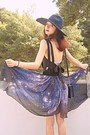 Black-romwe-dress-navy-zara-hat-navy-vintage-bag-navy-starry-romwe-skirt