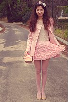 light pink Chicwish skirt - light pink romwe coat - light pink tights