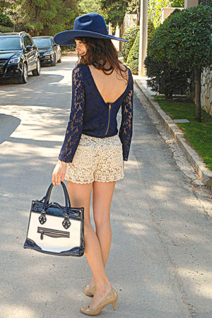 navy lace Zara dress - navy Zara hat - ivory floral jacket - navy bag