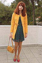 teal lace romwe dress - mustard romwe coat - mustard tights - mustard bag