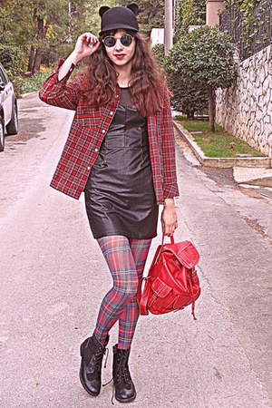 red plaid Choies shirt - black leather dress - black ears romwe hat