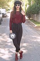 maroon heart Pop Couture jumper - maroon boots - black beret hat