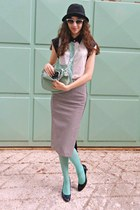 white OASAP blouse - black hat - aquamarine tights - aquamarine bag