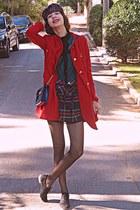 ruby red VJ-style coat - black oxford shoes - navy tartan beret DIY hat