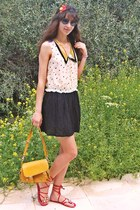 dark khaki printed collar dress - mustard lulus bag - black romwe sunglasses