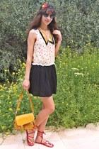 dark khaki printed collar dress - mustard lulus bag - black romwe sunglasses