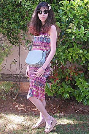 hot pink tribal print romwe dress - aquamarine bag