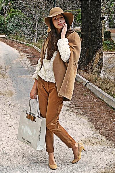 18f74d94ab3 camel H M hat - ivory 3d floral romwe sweater - ivory ted baker bag