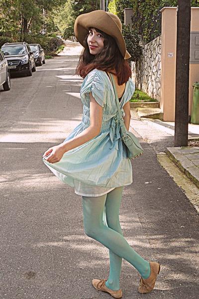 tan oxford Topshop shoes - light blue OASAP dress - tan H&M hat