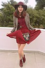 Maroon-h-m-hat-beige-plaid-cozbest-blazer-black-owl-bag-maroon-skirt
