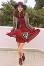 Maroon-h-m-hat-beige-plaid-cozbest-blazer-black-owl-bag-maroon-skirt