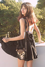 Black-romwe-dress-brown-owl-bag-black-oasap-heels