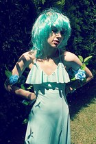 aquamarine maxi romwe dress - aquamarine wig Ebay accessories