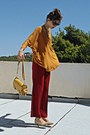 Mustard-lulus-bag-mustard-zara-top-ruby-red-pants-nude-steve-madden-pumps
