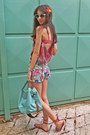 Aquamarine-bag-aquamarine-floral-romwe-shorts-red-sandals