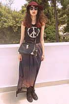 black peace romwe vest - black boots - black Chicwish bag