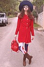 Red-vj-style-coat-brown-cowboy-boots-navy-zara-hat