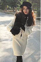 black hat - cream blazer - black purse - black gloves - cream skirt