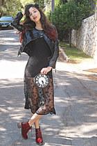 black leather VJ Style jacket - brick red boots - black stars VJ Style dress
