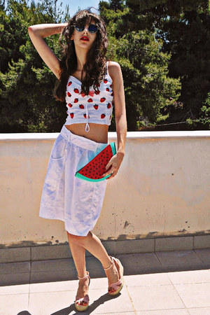 red watermelon bag - romwe sunglasses - light pink romwe wedges