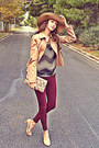 Dark-gray-sheer-threadsence-blouse-camel-h-m-hat-camel-stradivarius-jacket