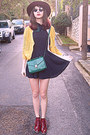 Black-romwe-dress-ruby-red-boots-teal-accessorize-bag