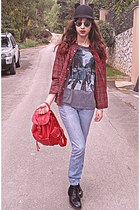 heather gray abbey road t-shirt - periwinkle Levis jeans - black ears romwe hat