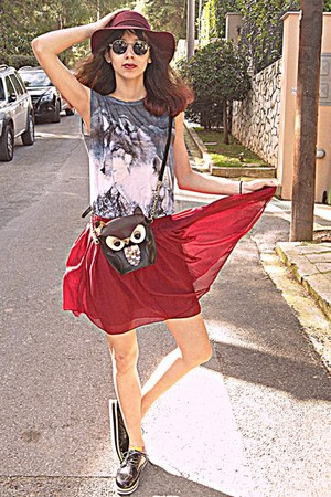 ruby red chiffon skirt - white creepers OASAP shoes - maroon H&M hat